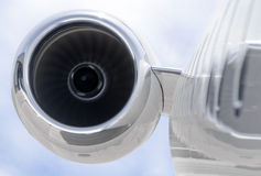 Runnning Jet engine closeup on a private airplane - Bombardier Stock Photo