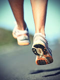 Runnning shoes on runner royalty free stock photos