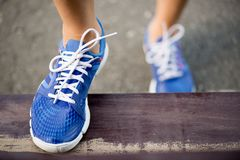Runnning shoes on runner, close-up Stock Images
