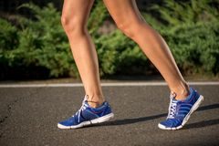 Runnning shoes on runner, close-up Royalty Free Stock Images