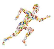 Runnung man made of pills Stock Images