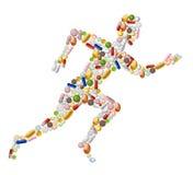 Runnungmens van pillen wordt gemaakt die vector illustratie