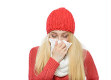 Runny nose of the girl Royalty Free Stock Photography