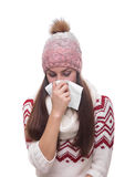 Runny nose of the girl Stock Photo