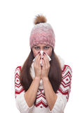 Runny nose of the girl Royalty Free Stock Images