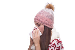 Runny nose of the girl Stock Photos