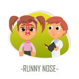 Runny nose medical concept. Vector illustration. Royalty Free Stock Photo
