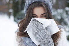 Runny nose. There is nothing worse than winter illness Royalty Free Stock Photo
