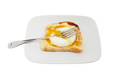 Runny yolk poached egg Royalty Free Stock Images