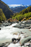 Runoff from Rob Roy Glacier in Mt Aspiring NP, NZ Royalty Free Stock Photo