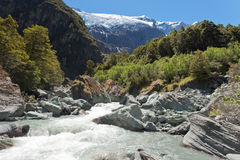 Runoff from Rob Roy Glacier in Mt Aspiring NP, NZ. Beautiful glacial river running off hanging Rob Roy Glacier in Mount Aspiring National Park, Southern Alps royalty free stock photo