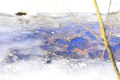 This runoff starts as a thin film called sheet wash, combined with a network of tiny rills, together constituting sheet runoff. A stream is a body of water with Royalty Free Stock Image