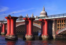 The runs of Blackfriars Railway Bridge. London Bridges over Thames River Stock Images