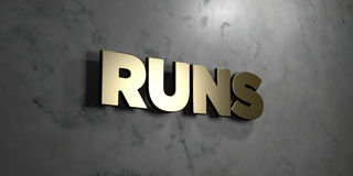 Runs - Gold sign mounted on glossy marble wall  - 3D rendered royalty free stock illustration Royalty Free Stock Photography