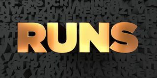 Runs - Gold text on black background - 3D rendered royalty free stock picture Stock Photography