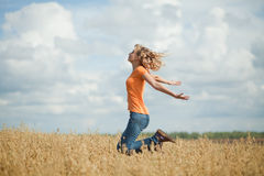 She runs and jumps Royalty Free Stock Photography