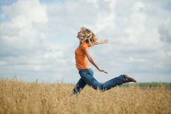 She runs and jumps Royalty Free Stock Images