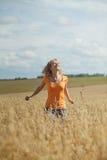 She runs and jumps Royalty Free Stock Image