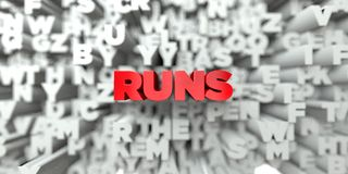 RUNS -  Red text on typography background - 3D rendered royalty free stock image Royalty Free Stock Photography