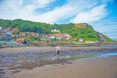 Runswick Bay. Seaside village of Runswick Bay on North East coast of England. Popular tourist and holiday destination royalty free stock photography