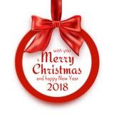 Runt baner för glad jul och för lyckligt nytt år 2018 med det röda bandet, pilbågen och konfettier Arkivbilder