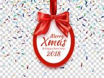 Runt baner för glad jul och för lyckligt nytt år 2018 med det röda bandet, pilbågen och konfettier Royaltyfri Foto