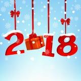 Runt baner för lyckligt nytt år 2018 med det röda bandet och pilbågen, på vit bakgrund Gula kottar på vitbakgrund greeting lyckli Royaltyfri Bild