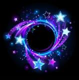 Runt baner med blåa stjärnor royaltyfri illustrationer