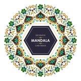 Runt baner med dekorativ design för stilfull Mandala royaltyfri illustrationer