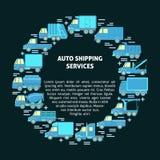 Runt begrepp automatiskför sändningsservice med olika typer av lastbilar i plan stil arkivbild