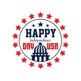 Runt emblem med stjärnor och konturn av Förenta staternaKapitolium 4th juli retro självständighet för bakgrundsdaggrunge Amerikan Arkivfoton