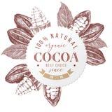 Runt emblem med typdesign och att räcka utdragna kakaobönor vektor illustrationer