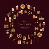 Runt en stor uppsättning av färgrika symboler på ämnet av öl stock illustrationer