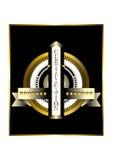 Runt guld- emblem med guld- stjärnor Royaltyfri Bild