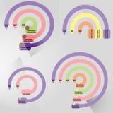 Runt infographic för översikt med den centrala beståndsdelen Diagram diagram, intrig, graf med 5, 6 moment, alternativ, delar, pr Royaltyfria Foton