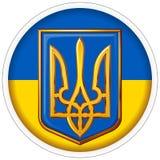 Runt klistermärkeemblem av Ukraina på bakgrunden av nationsflaggan royaltyfri foto