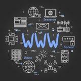 Runt linjärt baner - WWW internet på den svarta svart tavlan vektor illustrationer