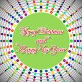 Runt mångfärgat julhälsningkort royaltyfri illustrationer