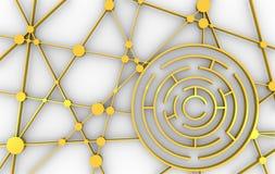 runt modellera för maze för dator 3d vektor för nätverk för illustration för begreppsdesign Vektor Illustrationer