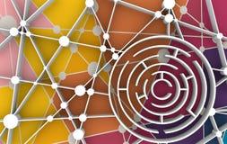runt modellera för maze för dator 3d vektor för nätverk för illustration för begreppsdesign Royaltyfri Illustrationer