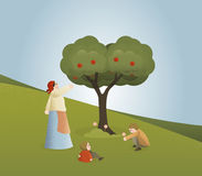 Runt om äppleträdet stock illustrationer