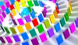 runt om böcker cirkla det färgrika jordklotet Arkivfoton