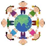 runt om barn jorda en kontakt standingen Royaltyfri Illustrationer