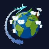 runt om begreppsloppvärlden Flygplanet med ångasvansen flyger runt om planetjorden Royaltyfri Bild