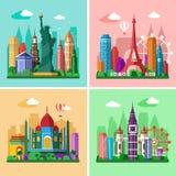 runt om den löpande världen Stadshorisontuppsättning Lägenhetlandskap av London, Paris, New York och Delhi med gränsmärken Royaltyfri Bild