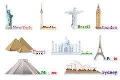runt om den set världen för berömd monument royaltyfri illustrationer
