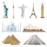 runt om den set världen för berömd monument Royaltyfri Bild