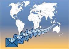 runt om e-postvärlden Royaltyfri Bild