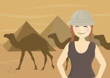 runt om egypt den lyckliga turist- löpande kvinnan stock illustrationer