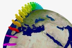 runt om folkvärlden Royaltyfri Bild